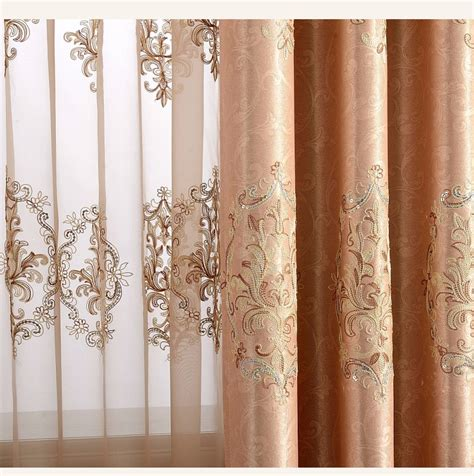 European Lace Curtains Aliexpress Buy European Embroidered Blackout Curtains For Living Room Beaded Sequins Tulle