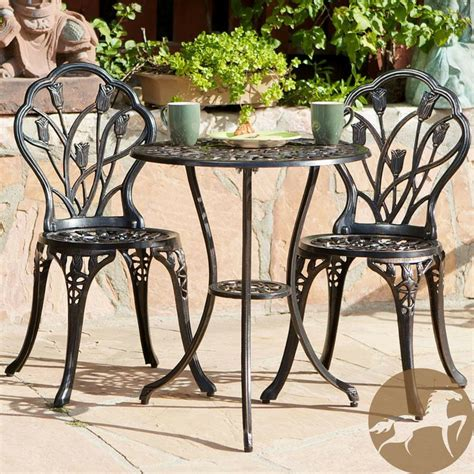 cast iron bistro patio set outdoor table chairs furniture sets  pc metal ebay