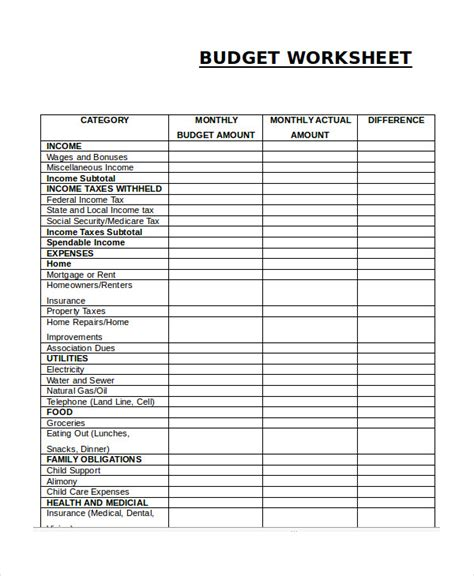 budget worksheet printable template printable budget worksheet template 12 free word excel