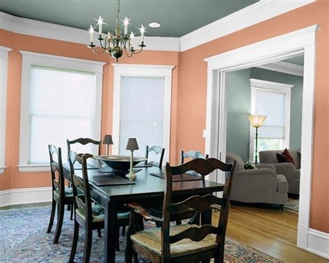 coral persimmon paprika salmon walls in dining room living room ideas