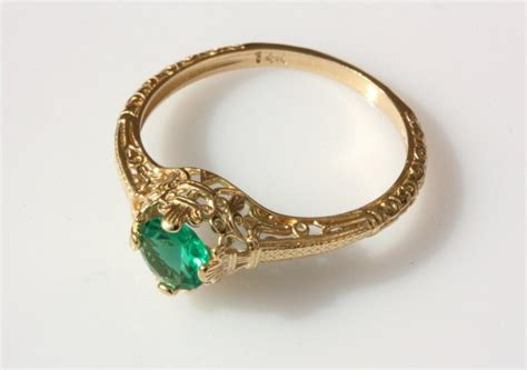 vintage emerald engagement ring 14k yellow gold