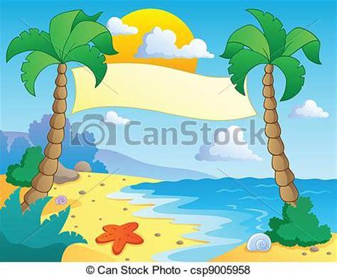 beach themed drawing vector of beach theme scenery 4 vector illustration