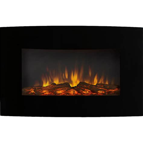 Curved Fireplace by Soho 35 Inch Curved Black Log Wall Mounted Electric Fireplace
