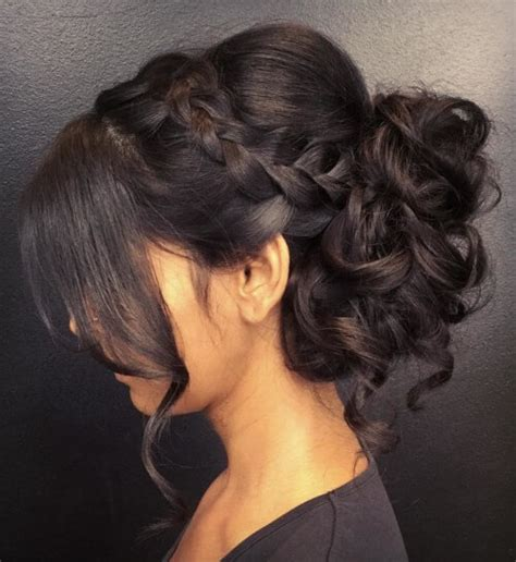 braided hairstyles with side bangs updo with side braid and bangs hairstyle monkey