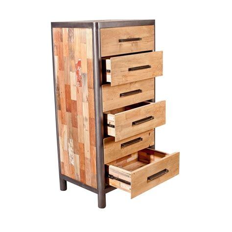 Commode Chiffonnier commode chiffonnier bois recycl 233 6 tiroirs 62x49x129cm
