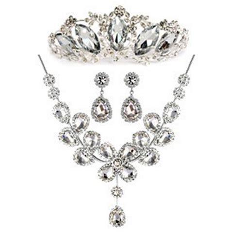 Aksesoris Kalung Set Pengantin Set Kalung Anting Pesta Grosir pengiriman gratis berlian imitasi mewah mahkota tiara