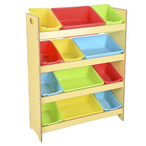 toy storage bookcase with tubs toys storage children kids shelf rack plastic boxes tubs