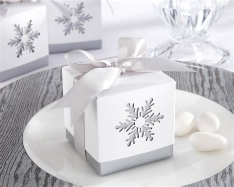 Winter Wedding Favors by Quot Winter Dreams Quot Laser Cut Snowflake Favor Box Set Of 24