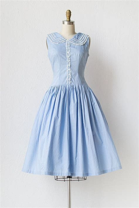 light blue collared dress vintage 1950s light blue dress with ruffle collar plain