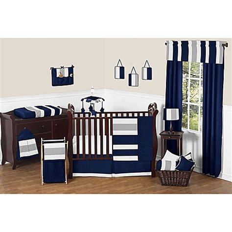 Navy And Grey Crib Bedding Sweet Jojo Designs Navy And Grey Stripe Crib Bedding Collection Bed Bath Beyond