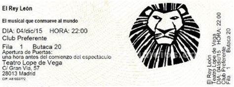 vendo entradas para el rey leon tabl 211 n de anuncios vendo entradas musical el rey