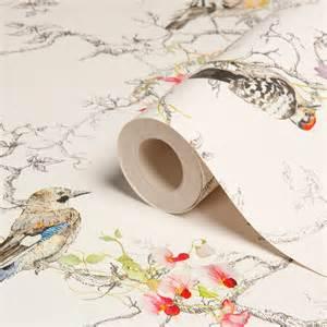 Bathroom Wallpaper B And Q Statement Ornithology Birds Metallic Effect Wallpaper