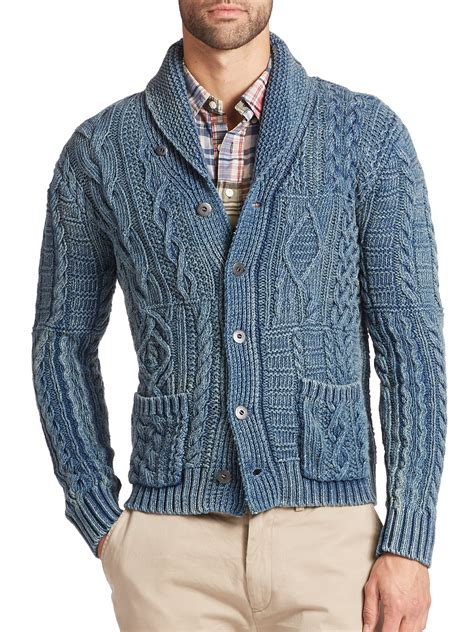 cable knit shawl polo ralph cable knit shawl cardigan in green for