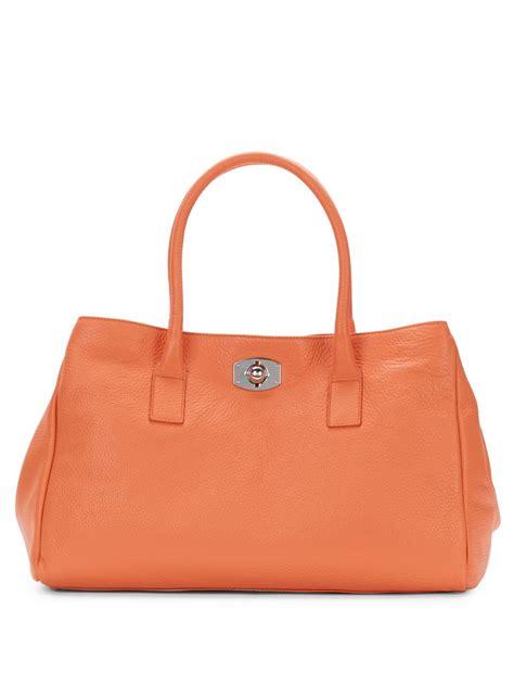 Furla Tote Bag furla appaloosa pebbled leather tote bag in orange lyst