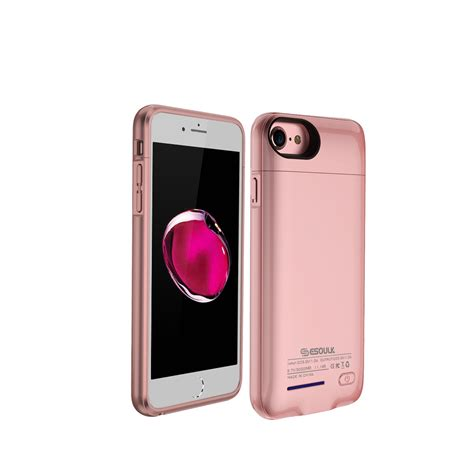 charging cases esoulk iphone   portable charging battery case mah rosegold