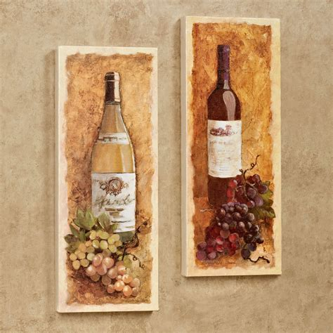 Grape Decorations For Kitchen Merlot And Chardonnay Wine Canvas Wall Art Set