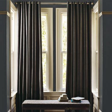 dark grey velvet curtains velvet grommet curtain iron west elm