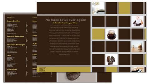 half fold brochure template for coffee shop menus order