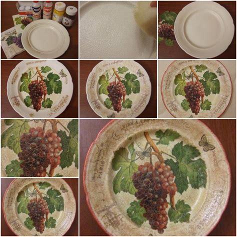 Decoupage Steps - how to make plate decoupage step by step diy tutorial