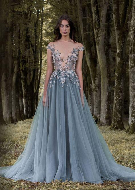 flower grey blue evening dresses latex lao lily wedding