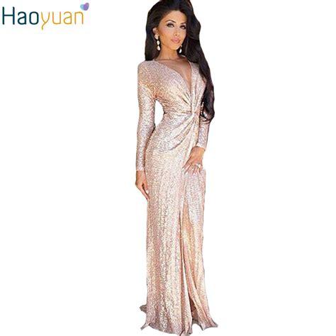 Dress Salur Av 01 haoyuan gold sequin maxi dresses sleeve bodycon dress robe v neck split autumn slim