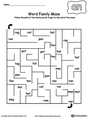 free printable maze reading passages an word family maze phonics rhymes maze and phonics