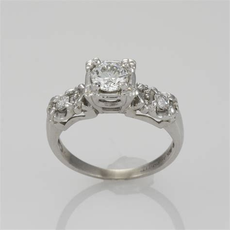 14k white gold deco solitaire ring 0