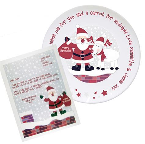 personalised novelty items christmas plate santa and rudolf