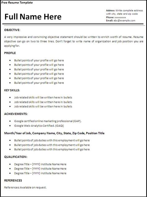 Free Work Resume Template by Resume Templates Free Word S Templates Part 2