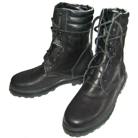 russian army warm winter leather boots with fur