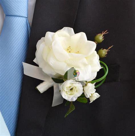 Wrist Corsage Groom Brooch Boutonniere Pin Bunga Bridesmaid 4 wedding boutonnieres white pink groom groomsman pin