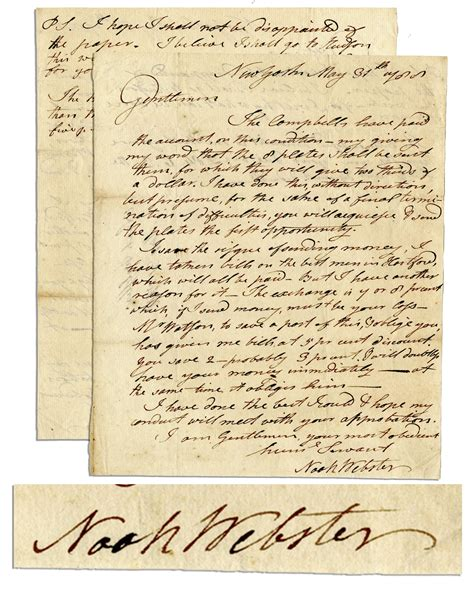 Webster Acceptance Letter Lot Detail Early Noah Webster Autograph Letter Signed I Will Doubtless Your Money