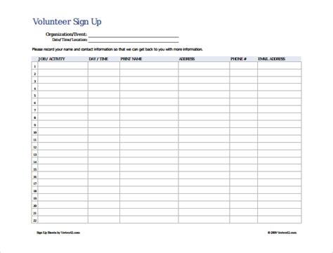 28 volunteer sign up template volunteer sign up sheet