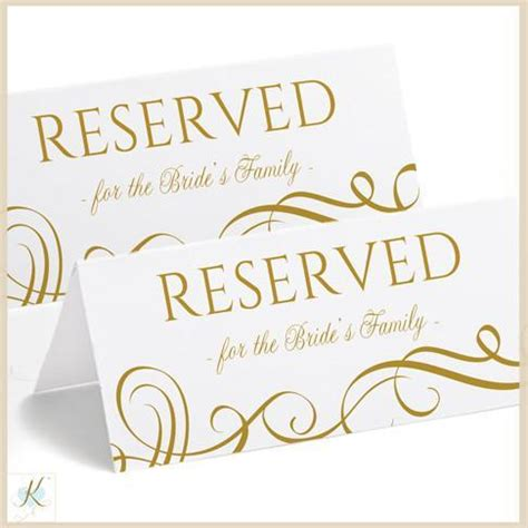 Reserved Place Card Template by Printable Reserved Sign Tent Swirls Gold