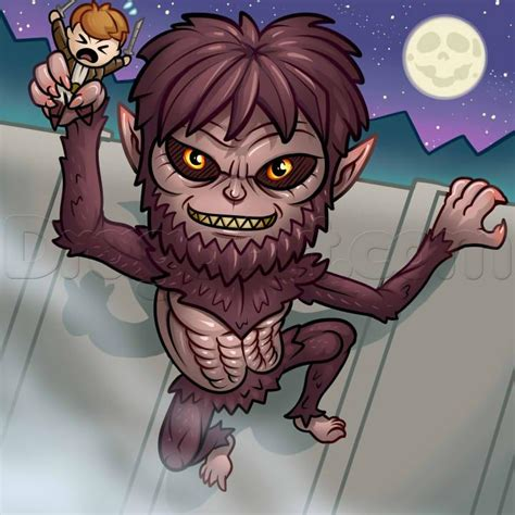 how to attack how to draw a chibi beast titan attack on titan step by step chibis draw chibi