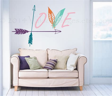 wall decals for bedrooms arrow and feather wall decal love wall decal bedroom wall