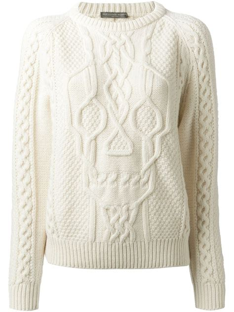 white knit sweater mcqueen skull cable knit sweater in white lyst