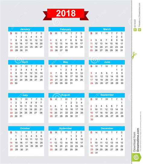 2018 calendar week start sunday stock vector image 60740491