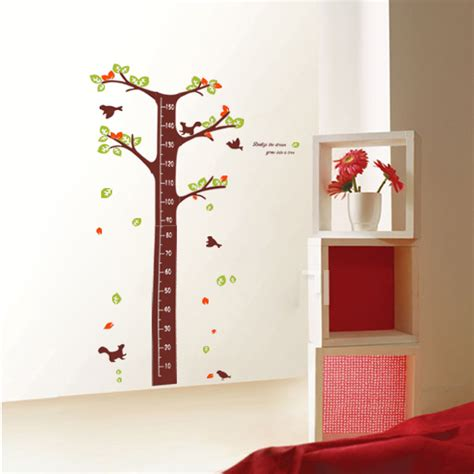 height wall sticker realize the grow into tree height measurement wall