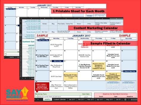 2017 Marketing Calendar Template In Excel Free Download Say More Services Marketing Schedule Template