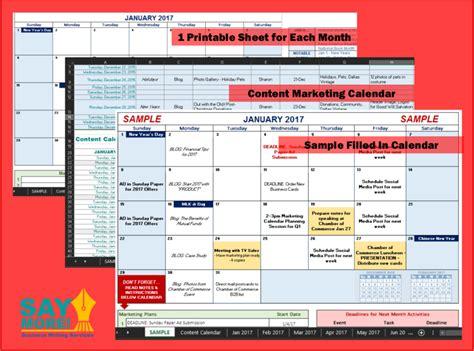 Marketing Plan Calendar Template 2016