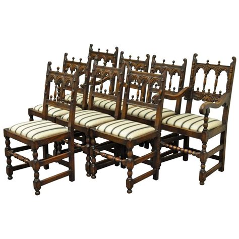 8 dining room chairs set of eight solid carved oak 1930s jacobean or gothic