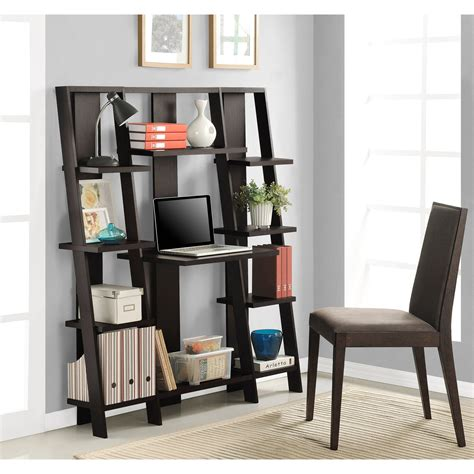 Mainstays Leaning Ladder 5 Shelf Bookcase Espresso Leaning Ladder 5 Shelf Bookcase