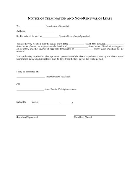 Lease Termination Letter Washington State washington notice of termination by landlord and non