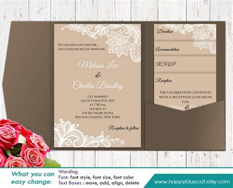 Diy Printable Pocket Wedding Invitation Template Set Instant Download Editable Text Rustic Pocket Invitation Template