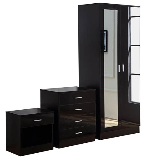 black mirrored high gloss 3 bedroom furniture set