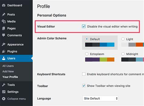 visual layout editor wordpress how to remove visual editor mode in wordpress