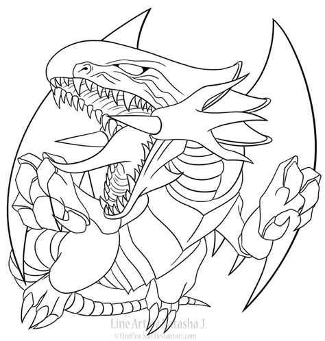 blue eyes white dragon line art by fireflea san on deviantart