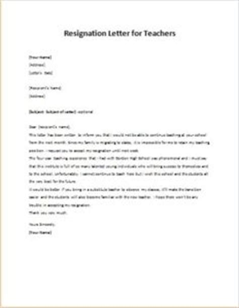Resignation Letter Substitute Resignation Letter For Teachers Writeletter2