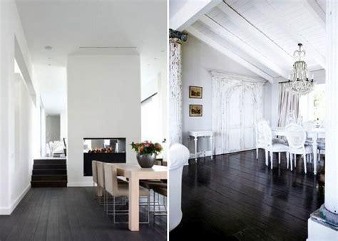 dark wood floors with light walls
